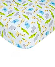 Cotton Sateen Crib Sheet - Safari Print