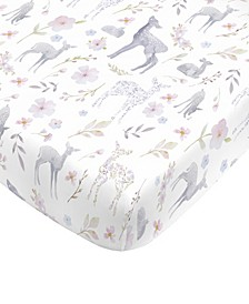 Floral Deer Fitted Crib Sheet