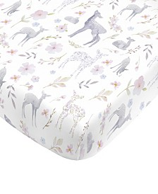 NoJo Floral Deer Fitted Crib Sheet