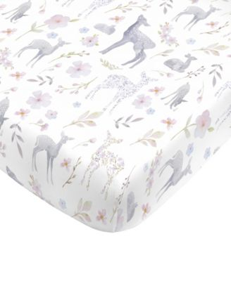 Floral Deer Mini Crib Sheet