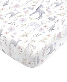 Floral Deer Mini Crib Sheet
