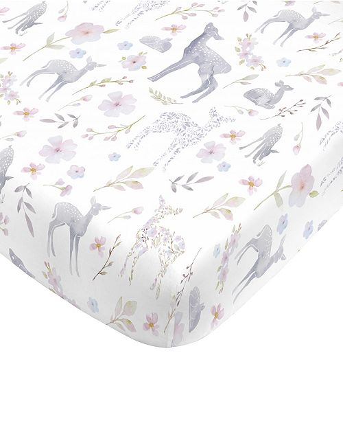 NoJo Floral Deer Mini Crib Sheet