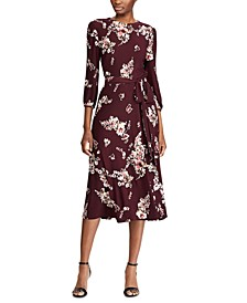 Floral-Print Peasant-Sleeve Belted Jersey Midi Dress