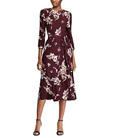 Lauren Ralph Lauren Floral-Print Peasant-Sleeve Belted Jersey Midi Dress