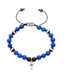 Steve Madden Men's Silver-Tone Stainless Steel Blue and Black Beads with Ankh Charm Bracelet