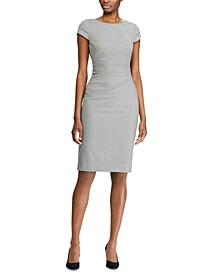 Geometric-Print Cap-Sleeve Houndstooth Dress