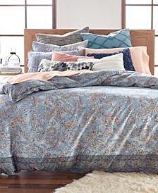Blue Basanti Cotton 235-Thread Count 3-Pc. Full/Queen Duvet Set, Created for Macy's
