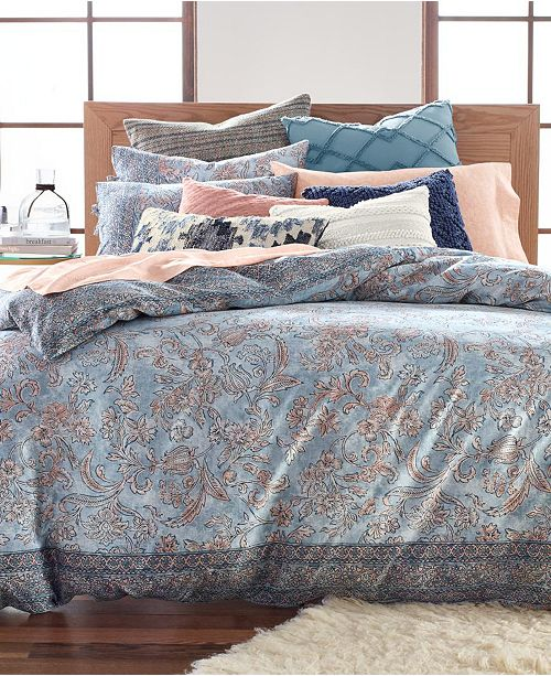Lucky Brand Blue Basanti Cotton 235-Thread Count 3-Pc. Comforter Sets, Created for Macy's