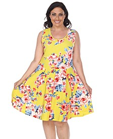 Women's Plus Size Flower Print Crystal Dress