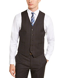Men's Classic-Fit Airsoft Stretch Brown/Blue Birdseye Windowpane Suit Vest