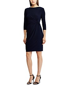 3/4-Sleeve Twisted-Knot Jersey Dress