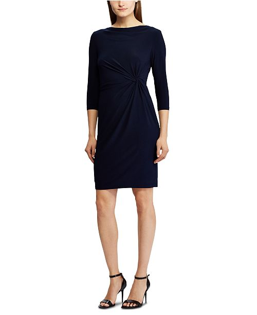Lauren Ralph Lauren 3/4-Sleeve Twisted-Knot Jersey Dress