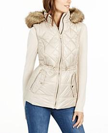 Hooded Faux-Fur-Trim Puffer Vest