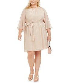 Trendy Plus Size Tie-Waist Metallic Dress