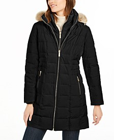 Petite Faux-Fur Trim Hooded Down Coat, Created for Macy's