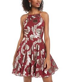 Juniors' Metallic-Print Fit & Flare Dress