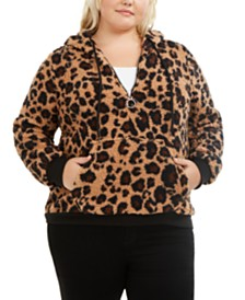 Derek Heart Trendy Plus Size Cheetah-Print Fleece Hoodie
