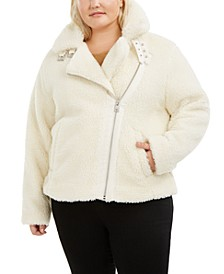 Trendy Plus Size  Fleece Asymmetrical-Zip Moto Jacket