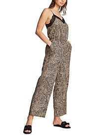 Animal-Print Lace-Trim Jumpsuit
