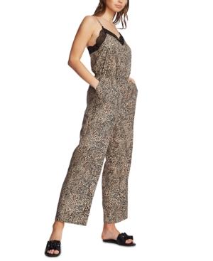 1.state Animal-Print Lace-Trim Jumpsuit