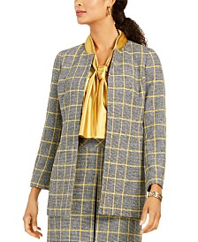 Kasper Open-Front Plaid Jacket