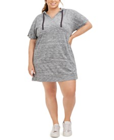Ideology Plus Size Terry Drawstring Hoodie Dress, Created for Macy's
