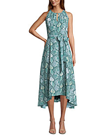 Tahari ASL Snake-Embossed Midi Dress