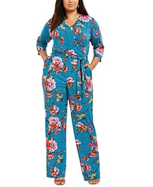 Plus Size Printed Surplice Jumpsuit