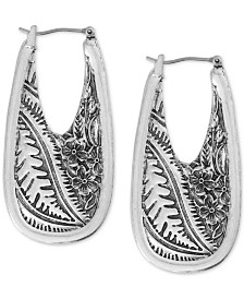 Lucky Brand Medium Silver-Tone Floral-Etched Statement Hoop Earrings 1-3/4""
