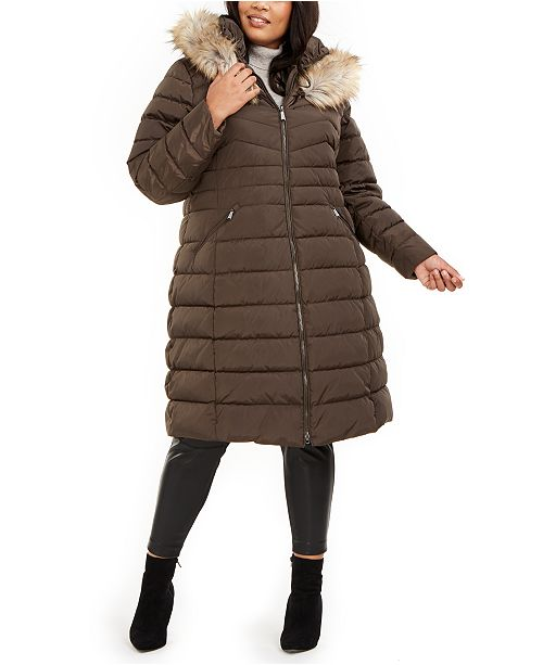 Laundry by Shelli Segal Plus Size Faux-Fur Trim Hooded Puffer Coat