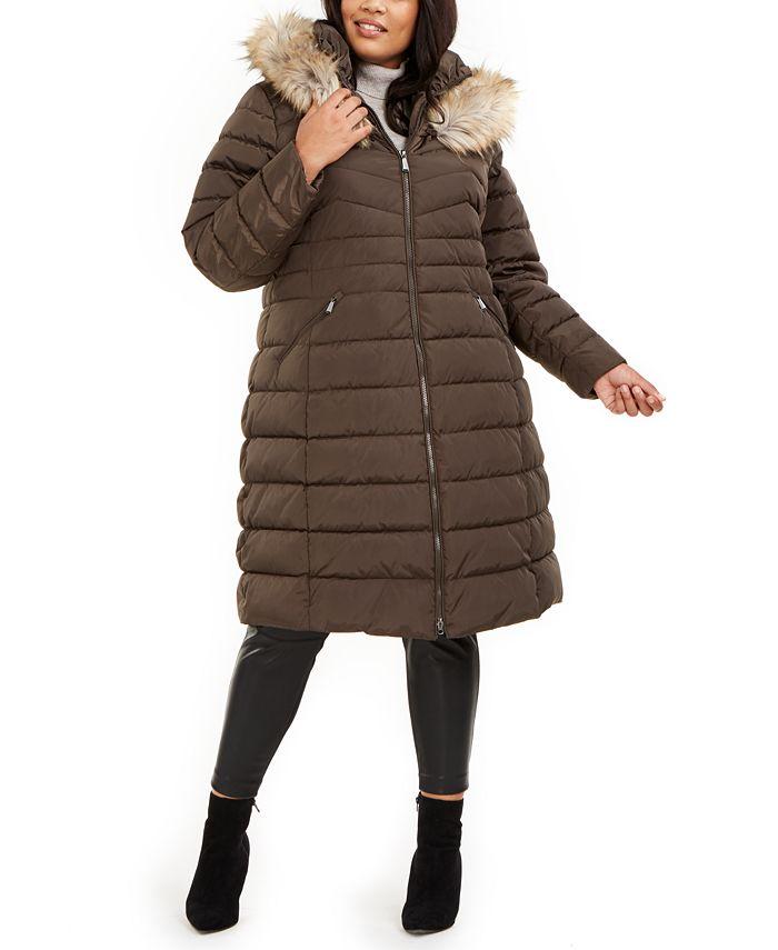 Laundry by Shelli Segal - Plus Size Faux-Fur Trim Hooded Puffer Coat