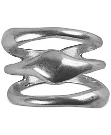 Lucky Brand Silver-Tone Faux-Stack Ring