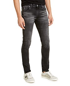 Men's Skinny-Fit Black Crinkle Jeans