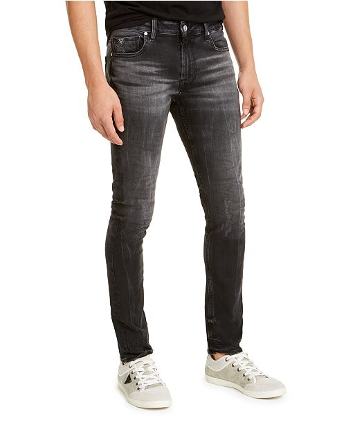 GUESS Men's Skinny-Fit Black Crinkle Jeans