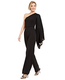 Crepe One-Shoulder Jumpsuit