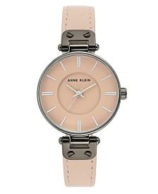 Anne Klein Women's Pink Leather Strap Watch 34mm