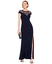 Sequin-Illusion Slit Gown