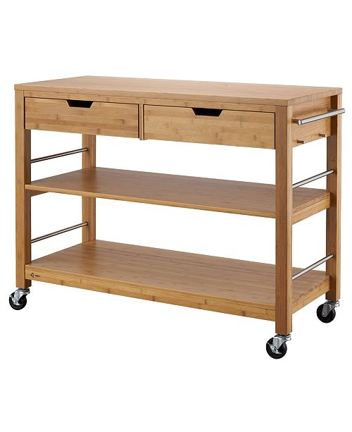 48 Bamboo Kitchen Island with Drawers