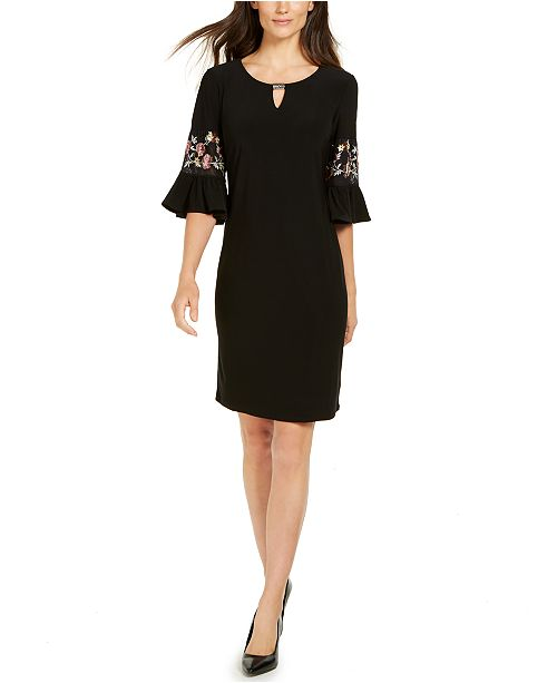 JM Collection Embroidered Sleeve Dress, Created for Macy's