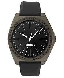 Men's #Act Gray Silicone Strap Watch 44mm