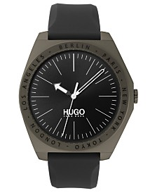 HUGO Men's #Act Gray Silicone Strap Watch 44mm