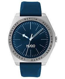 HUGO Men's #Act Blue Silicone Strap Watch 44mm