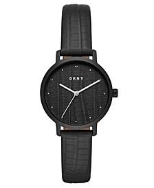 Women's Modernist Black Leather Strap Watch 32mm