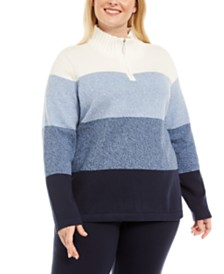 Karen Scott Plus Size Kathleen Striped Cotton 1/4-Zip Sweater, Created for Macy's