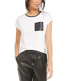 Faux-Leather Pocket T-Shirt, Created For Macy's