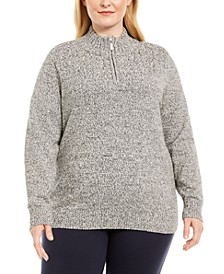 Plus Size Marled Cotton 1/4-Zip Mock-Neck Sweater, Created for Macy's