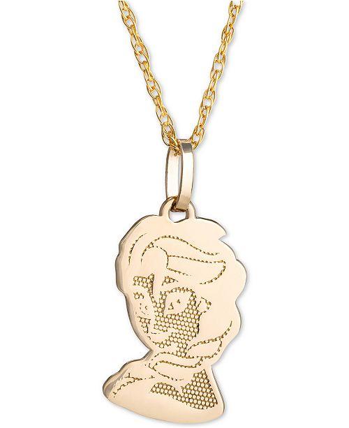"Disney Children's Frozen Elsa 15"" Pendant Necklace in 14k Gold"