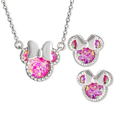 "Children's 2-Pc. Set Cubic Zirconia Minnie Mouse 18"" Pendant Necklace & Stud Earrings Set in Sterling Silver"