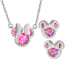 """Disney© Children's 2-Pc. Set Cubic Zirconia Minnie Mouse 18"""" Pendant Necklace & Stud Earrings Set in Sterling Silver"""