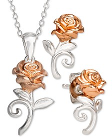 Disney© Children's  2-Pc. Set Beauty & the Beast Pendant Necklace & Matching Stud Earrings in Sterling Silver & 18k Rose Gold-Plate